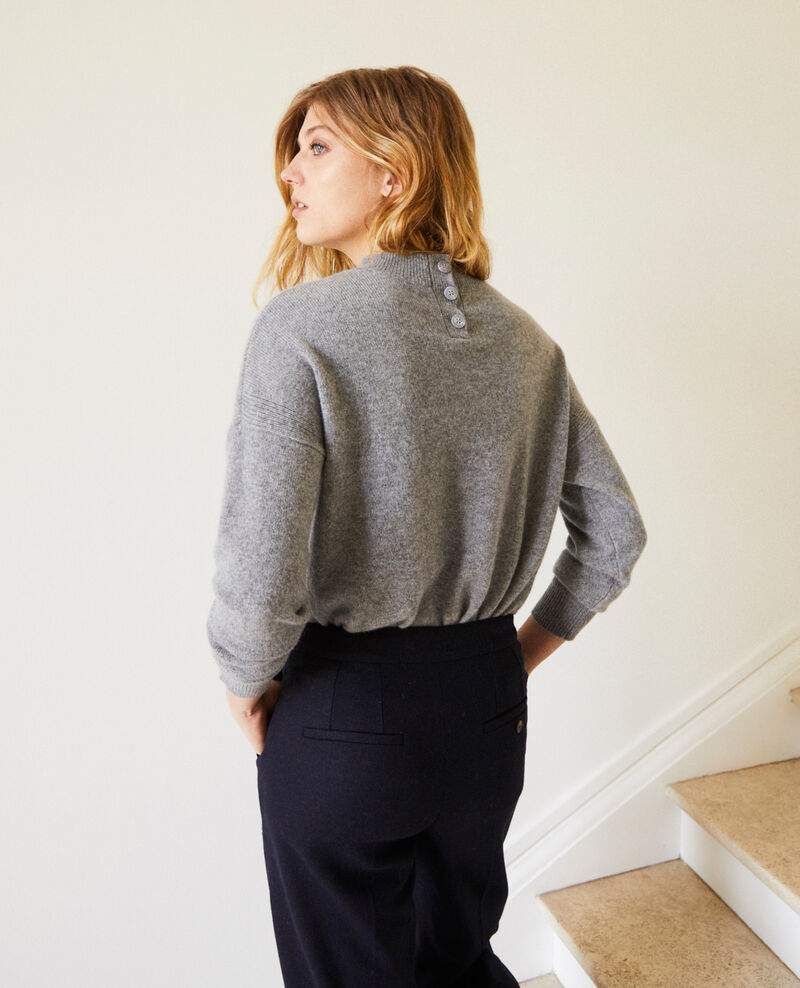 Jumper with buttons on the back 100% cashmere Light grey Jook
