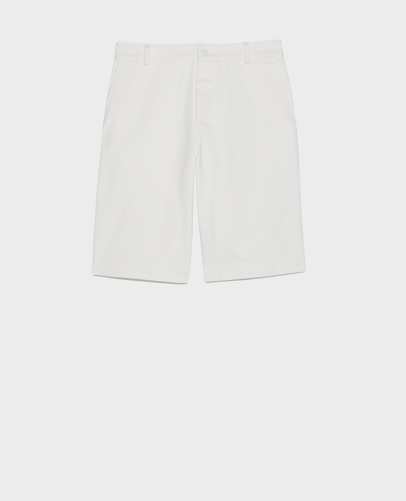 Cotton canvas bermuda shorts Optical white Lenora