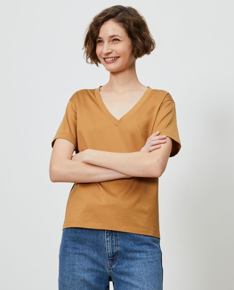 V-neck cotton t-shirt Latte Laberne