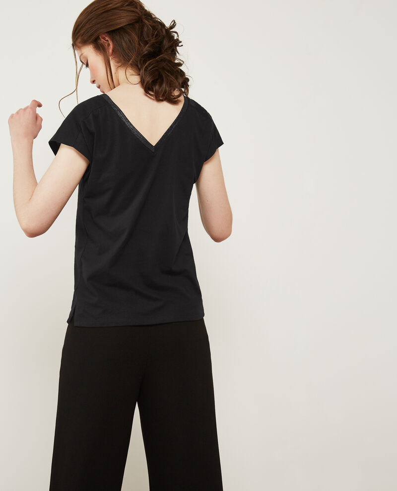 T-shirt with detail lurex inlay Black Dactylo