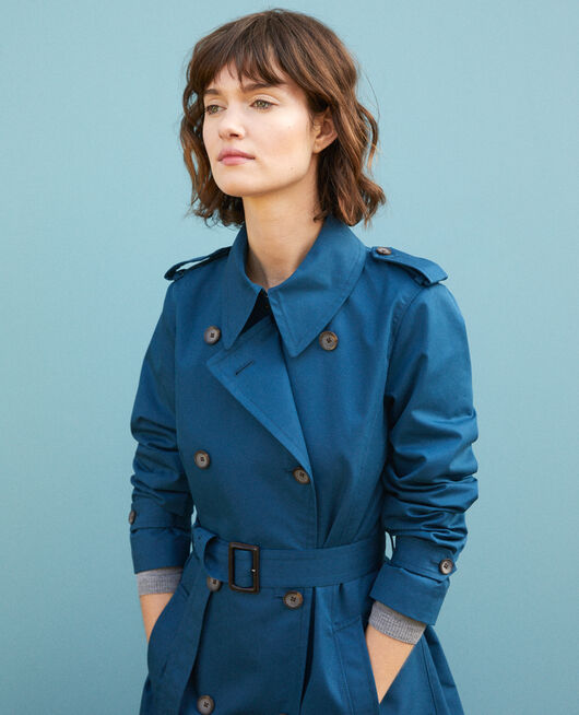 Mid-length trench coat MAJOLICA BLUE
