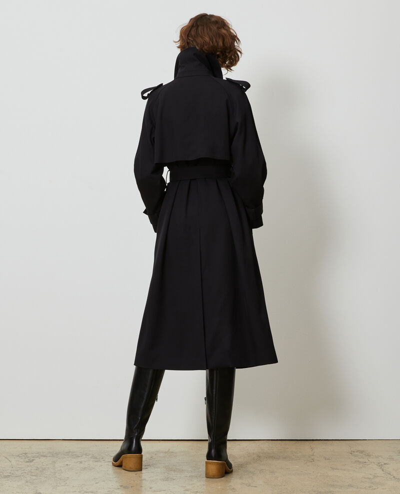 Long loose wool trench Black beauty Messimy