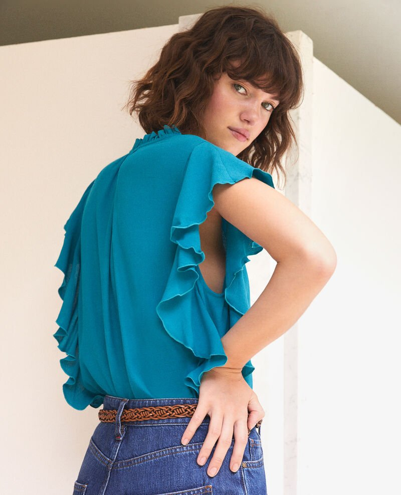 Frilly blouse Pacific green Fretillant