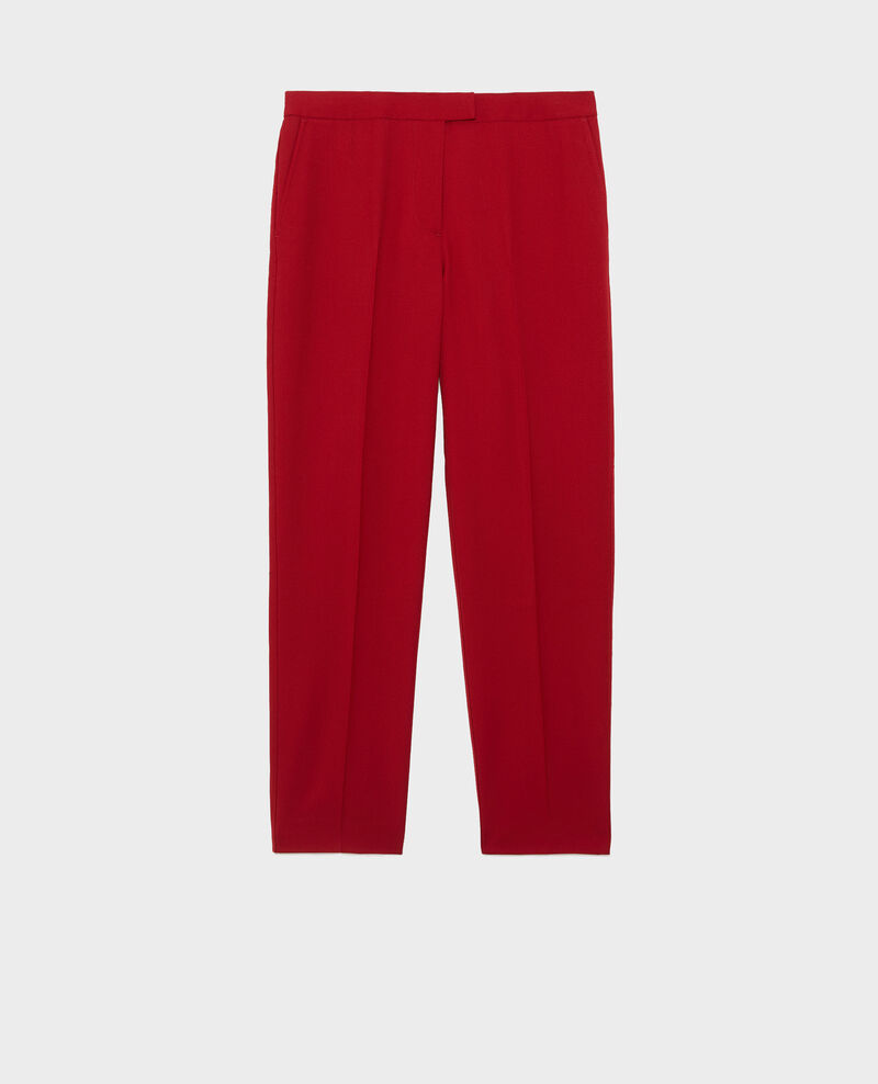 Wool 7/8 cigarette pants MARGUERITE Royale red Moko