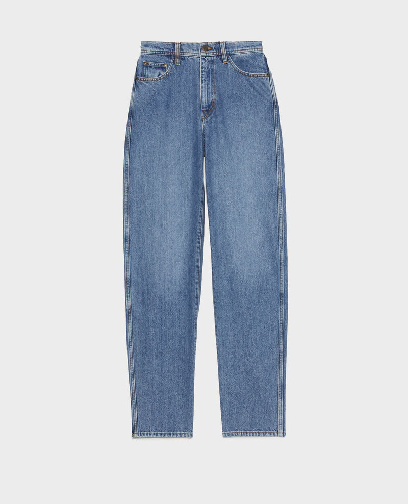 REAL STRAIGHT - High-waisted 5 pocket bleached jeans Light denim Merleac