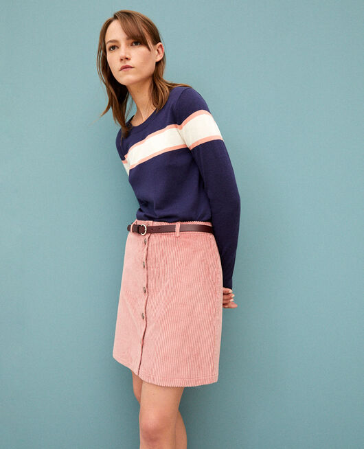 Ribbed corduroy skirt OLD ROSE