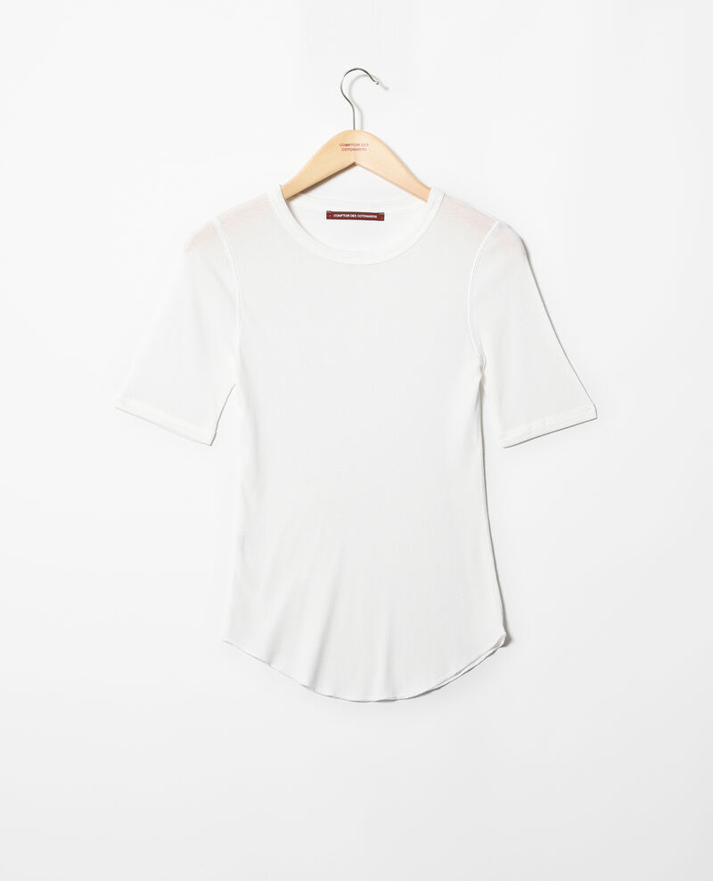 Ribbed t-shirt  Off white Ibabie