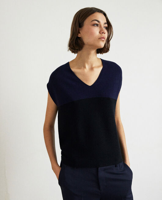V-cowl neck jumper NAVY/NOIR