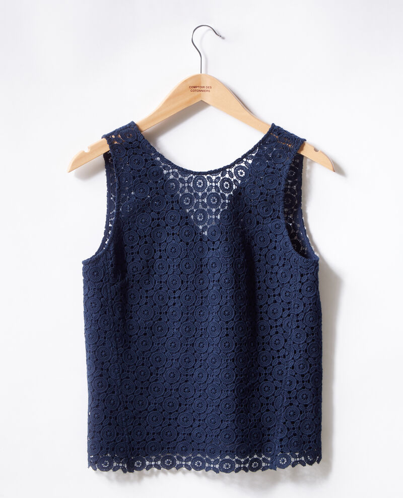 Broderie anglaise top Navy Foulouse