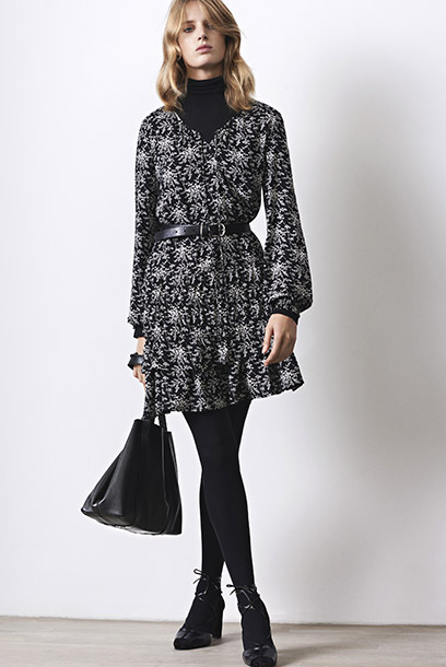 Look - Frilly print dress and long sleeved top with modal and cashmere
