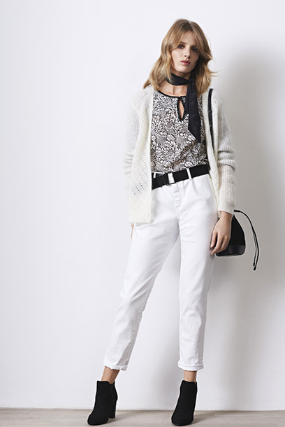 Look - cardigan with mohair, print blouse and white jeans