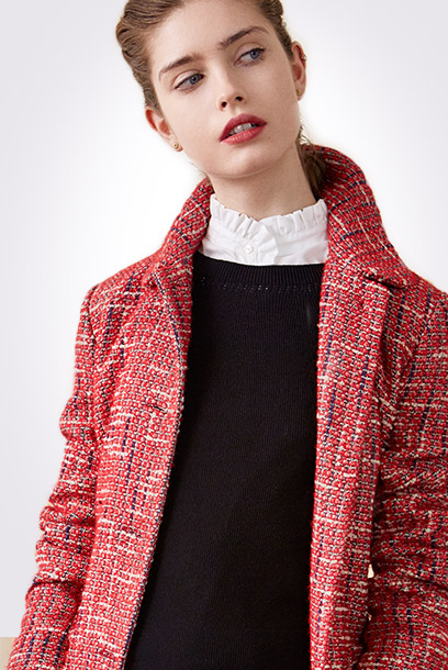 Look - Tweed coat and textured ruffle shirt