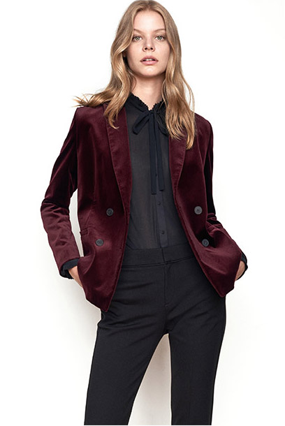 Women look – velvet jacket and tailored trousers