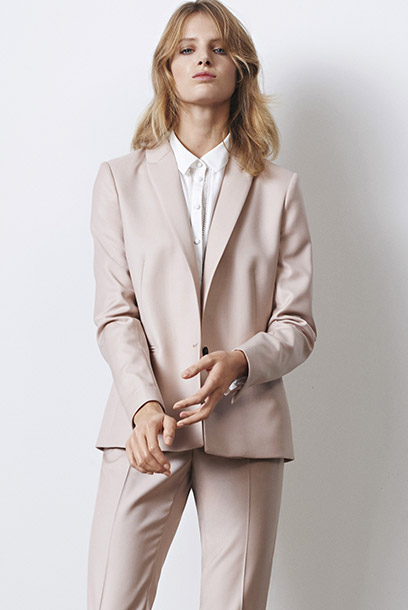 Look - wool suit and blouse with silk and embroidery