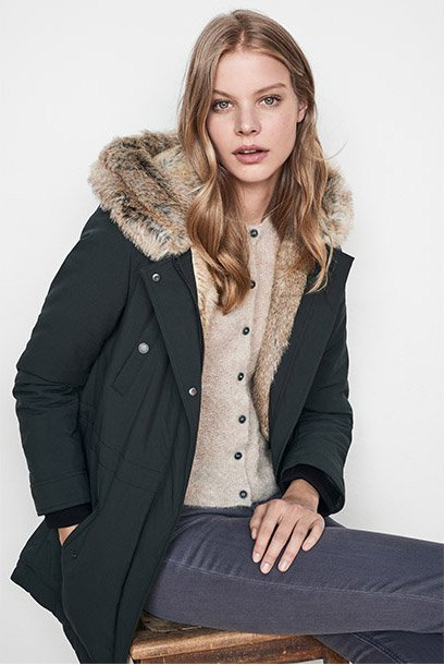Women look -  fully-lined faux fur parka and wool and alpaca cardigan