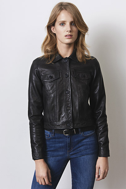 Women look - leather jacket and slim jeans
