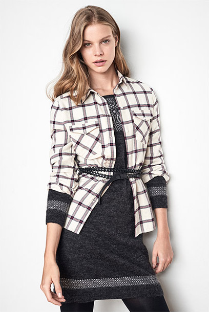 Women look jacquard dress and check shirt