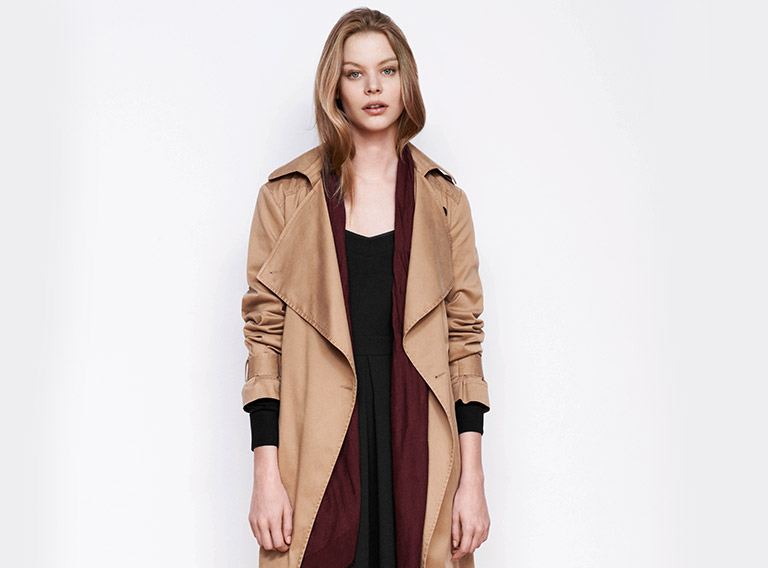Woman look Long trench coat and sleeveless dress
