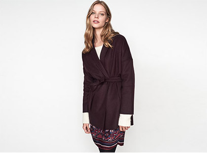Women look – wool coat and boho dress