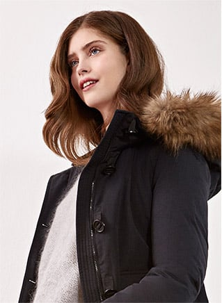 Look femme - Down jacket with removable faux fur, Mohair jumper