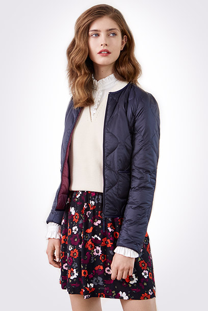 Look - reversible padded jacket and printed skirt